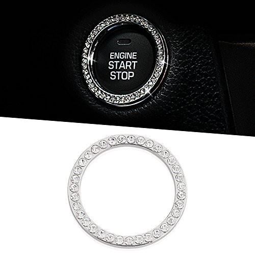 1Pcs Car Decor Crystal Rhinestone Car Bling Ring Emblem Sticker  Bling Car Accessories For Auto Start Engine Ignition Button Key   Knobs  Bling For Car Interior  Unique Gift For Women White