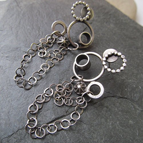 Dangling Button Earrings (Long Silver Bubble Stud Earrings- Diana Anton Jewelry Design)