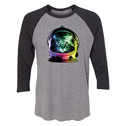 Astronaut Cat 3/4 Raglan Tee Fancy Fashion 2017 Brand New Top Quality Jersey Black Heather/Grey Small
