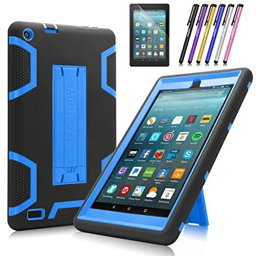 (All-New Amazon Fire 7 Tablet Case, Cherrry Heavy Duty Shockproof Hybrid Full Body Protective Case Build in Kickstand for Amazon Fire 7(2017 Release) +Screen Protector Film + Stylus Pen (Blue/Black))
