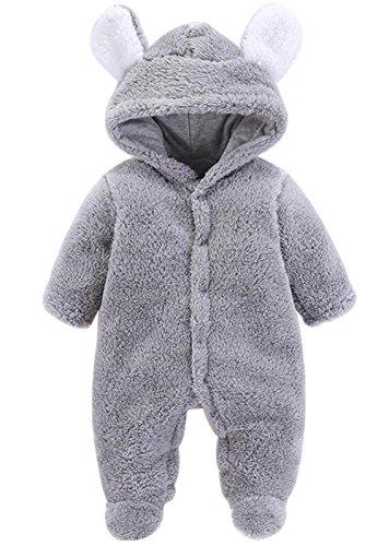 LOTUCY Newborn Baby Boys Girls Cartoon Bear Ears Warm Fleece Hooded Romper Jumpsuit Size 0-3 Months/Tag59 - Boys Infant Snowsuit