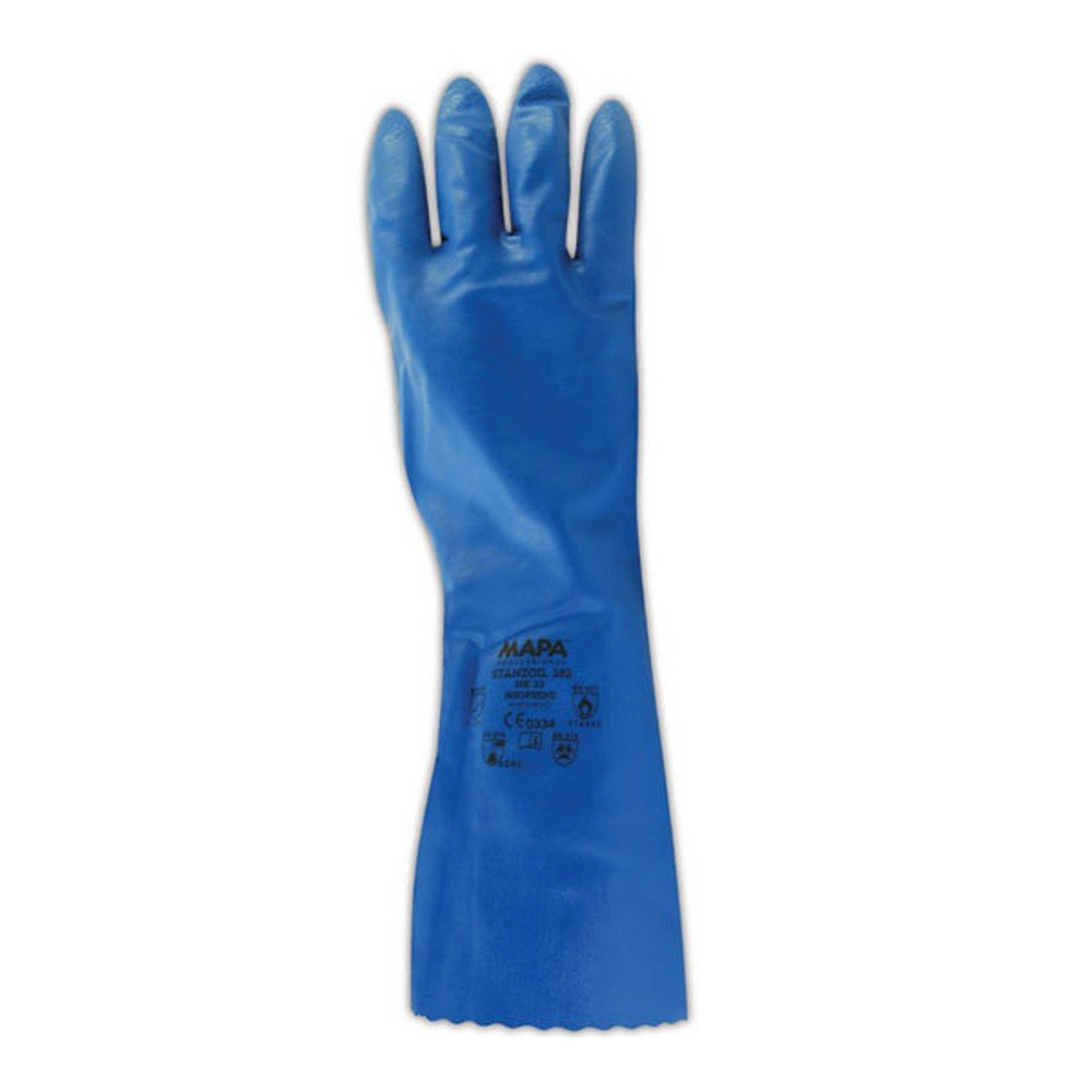 MAPA StanZoil NK-22 Neoprene Mediumweight Glove, Chemical Resistant, 0.30'' Thickness, 14'' Length, Size 9, Blue (Bag of 12 Pairs)