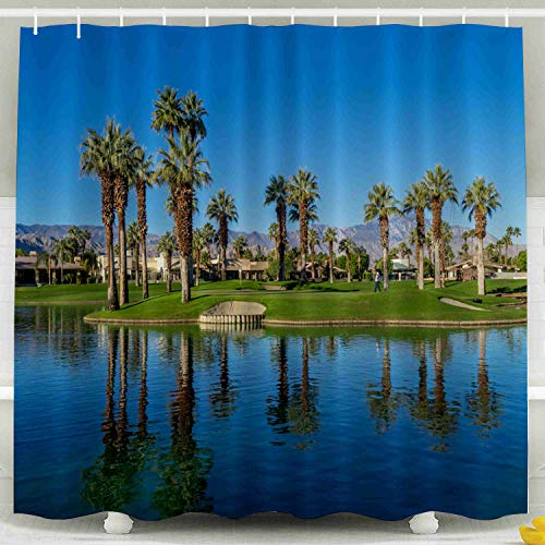 Palm Desert Shower Curtain - Shorping 78x72 Shower Curtain, Palm Desert CA NOV 19 View of Water Features at a Golf Course at The JW Marriott Desert Springs Resort Waterproof Decor Bathroom Fabric Polyester Design Set with Hooks