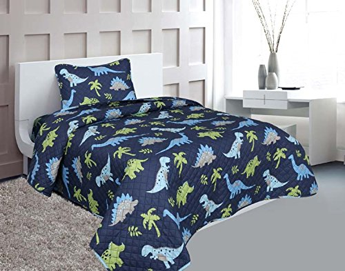 ize 2 Pieces Printed New Designs Kids Bedspread/ Coverlet Sets/ Quilt Set (Twin, DINOSAUR) ()