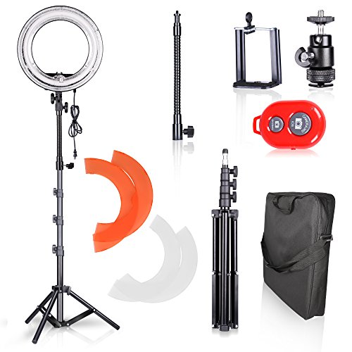 Emart Ring Light Photography Camera, 14 inch 50W Dimmable Circle Fluorescent Flash for Photo Video Studio Kit with Light Stand, Accessories, Bluetooth Wireless Remote Control for Smartphone by EMART