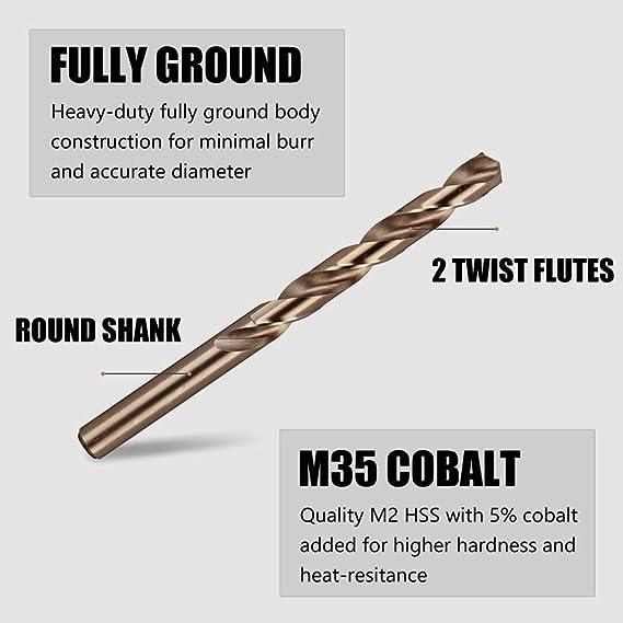 """1//16/""""-1//2/"""" Dia Cobalt M2 HSS 135 Degree Split Point Jobber Drill Bits"""