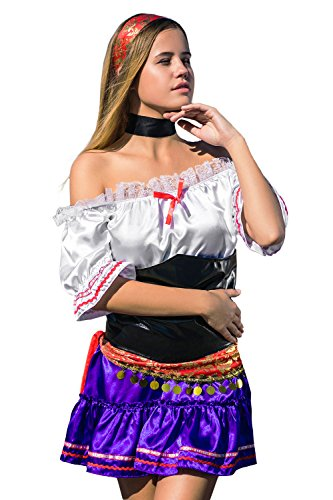 Fortune Teller Costume Ideas (La Mascarade Adult Women Sexy Gypsy Halloween Costume Fortune Teller Dress Up & Role Play (Standard))