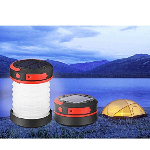 Liqoo® LED Campinglampe Solar Campingleuchte Camping Zelt Laterne Wasserdicht Faltbar Tragbar Zusammenklappbar Taschenlampe mit SOS und Power Bank Funktion, mit USB und Solarpanel aufgeladen