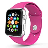 Apple Watch Band, HuanlongTM New Soft Silicone Sport Style Replacement Iwatch Strap for Apple Wrist Watch (Barbie Pink 38mm M/L)