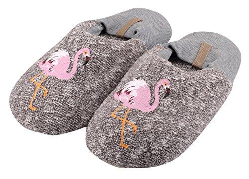Agowoo Kvinners Barn Gutter Jenter Familie Flamingo Ananas Hjem Tøfler Women_grey