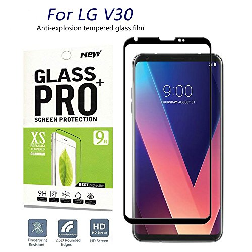 for LG V30 Screen Protector, Caryan[Full Coverage][Scratch Resistant][HD Clear][Easy Install][9H Hardness][Bubble Free] Ultra Clear Tempered Glass Screen Protector for LG V30(Black)