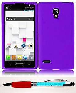Accessory Factory(TM) Bundle (the item, 2in1 Stylus Point Pen) For LG Optimus L9 P769 Silicone Skin Cover Case - Purple Soft Jelly Rubber Phone Protector cas protecteur de couverture
