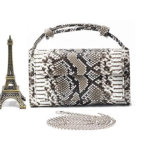 Genuine Leather Female Chain Shoulder Bag Luxury Designer Crocodile Tote Messenger Bags,Python Black (Python Black Messenger Bag)