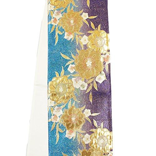 ダイバースクワイアうそつき【正絹袋帯】【紫とブルー地に金系 / 桜の柄】未仕立て 桐生織物 礼装 振袖 訪問着【お仕立て承ります】