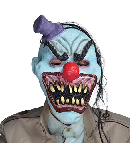 YUFENG Scary Halloween Devil Clown Mask With Hair, Mini Hat,Horror Mouth for Adults,Halloween Costume Party Props Masks -