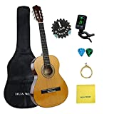"""Classical Guitar set HUA WIND 36"""" inch 3/4 Size Starter Classical Acoustic Guitar with Gig bag, Tuner, Picks, Strings, Polishing Cloth (3/4 Size)"""