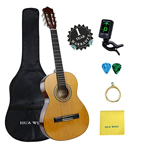 Classical Guitar set HUA WIND 39' inch 4/4 Full Size Starter Classical Acoustic Guitar with Gig bag, Tuner, Picks, Strings, Polishing Cloth (Full Size)