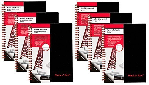 CASE OF 6 Black n' Red Twin Business Notebook, Hardcover, Wired, 8-1/4 x 5-7/8 Inches, 70 sheets/140 pages, Black (L67000)