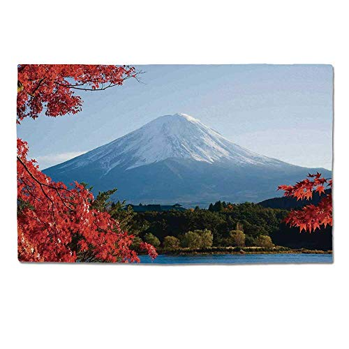 - YOLIYANA Landscape Durable Door Mat,Mountain Fiji with Snowcapped Summit and Lake Maple Trees in Autumn for Home Office,One Size