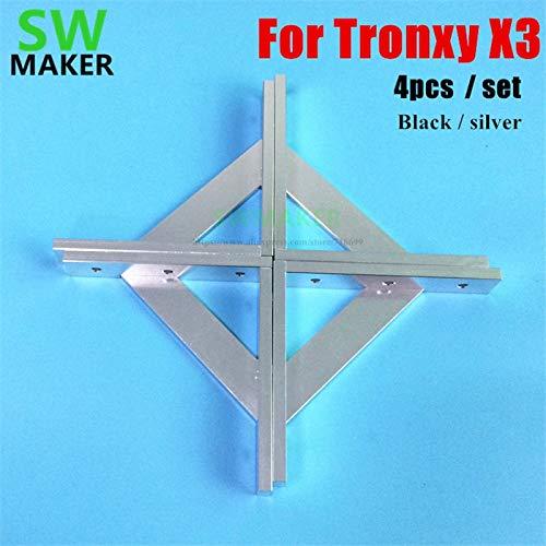 Zamtac 4pcs/Set Upgrade Anodized Aluminum Frame Reinforcing 2020 Cross Profile Corner for V-Slot Tronxy X3 Tevo Tarantula 3D Printer - (Color: - Anodized Aluminum Cross Corner