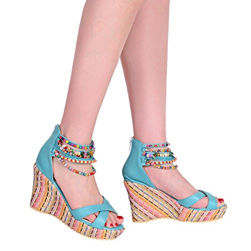 Espadrille Ankle Zipper Toe Wedge Strap Womens Peep Rhinestone Blue Classic Sandals Heels High Summer Platform BigTree 5TnF8W