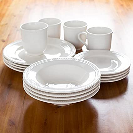 Thomson Pottery Pearlina Stoneware Dinnerware - Set of 16 (White) & Thomson Pottery Pearlina Stoneware Dinnerware - Set of 16 (White ...