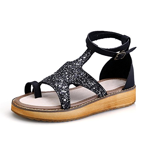 Smilun Lady's Roman Sandal Rhinestone Open Toe Ankle Strap Sandal Shoes Wedge Sandals Black