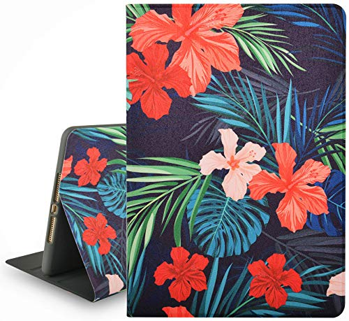 KECC Case for iPad Mini 5th Generation (2019) / iPad Mini 4th Generation (2015) Smart Protective Cover with Multiple Viewing Angles + Auto Sleep/Wake Function (Palm Leaves Red Flower)