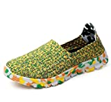 Unisex Pump Loafer Couple Casual Shoes Colormatch Weaving Breathable Soft Sole Snekers Eu Size 35-44,Green,42EU