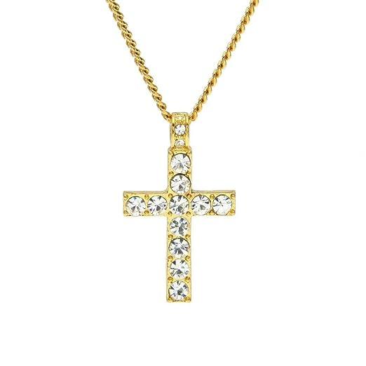 sameno 2018 Fashion Hip Hop Men Women Jewelry Bling Rhinestone Crystal  Cross Pendant Necklace (Gold 33fc8a288cf1