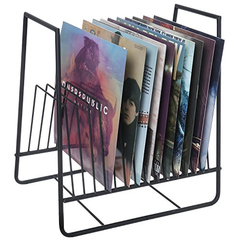 Matte Black Metal Vinyl Record Organizer and Media Storage Holder Rack