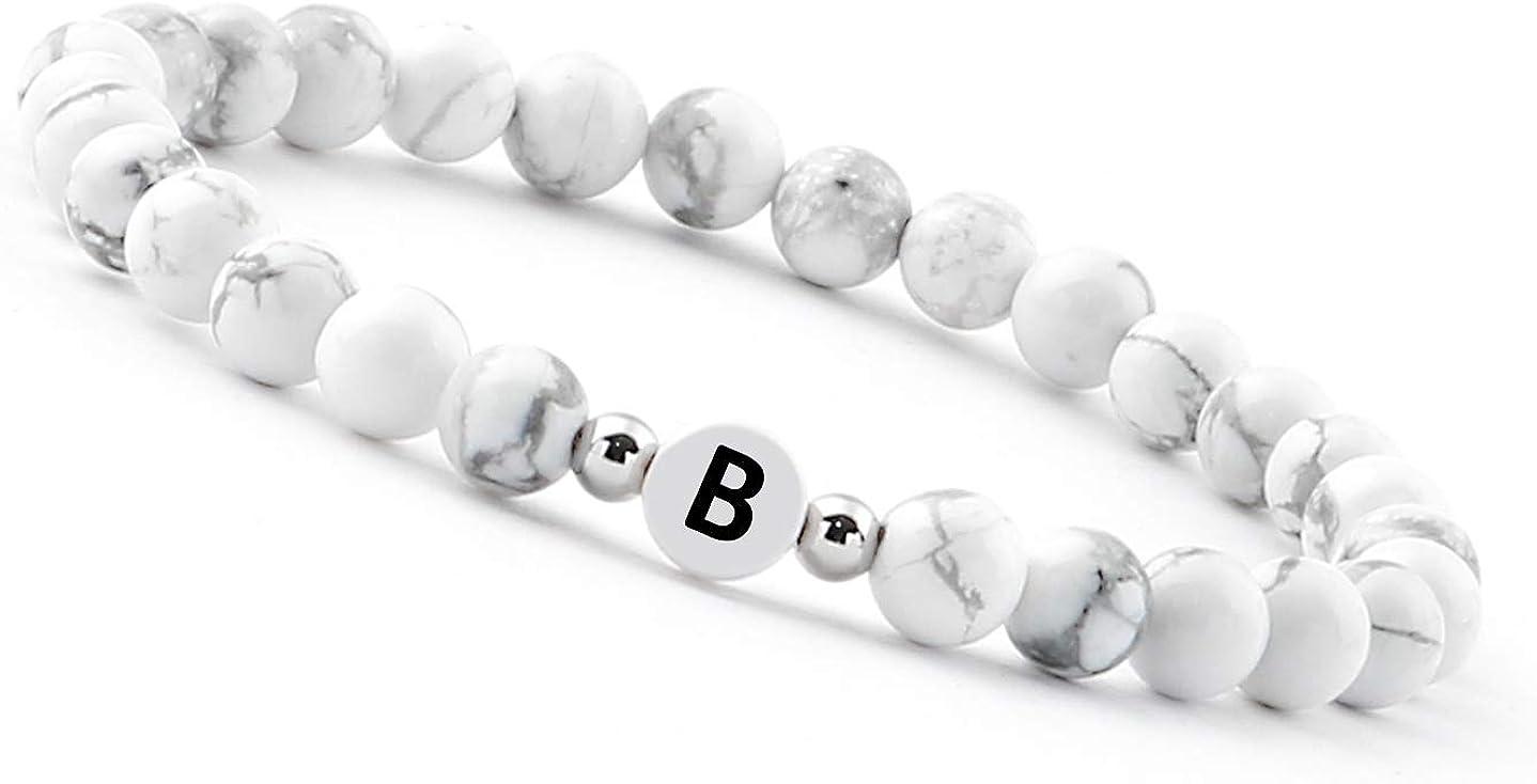 Good.Designs ® Pulsera de Perlas con Letra de Piedra howlita Blanca, Pulsera de la Amistad con Iniciales grabadas
