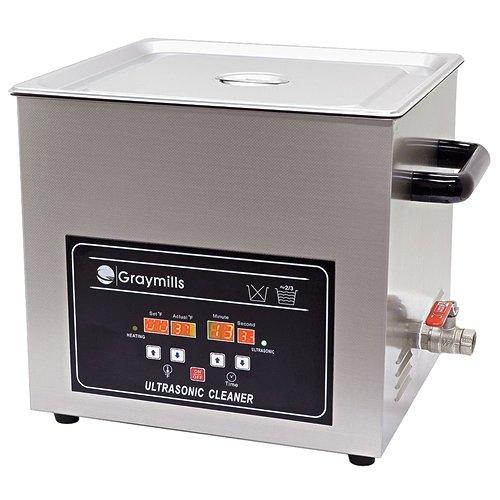 - Graymills BTV-065 Benchtop Economical Ultrasonic Parts Washer, 304SS Construction, 1.7 g, 120V, Silver