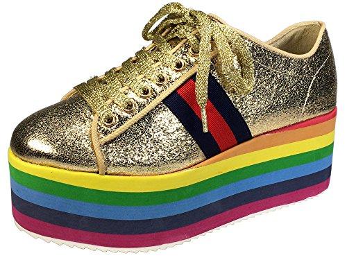 BAMBOO Women's Lace-Up High Platform Sneaker, Gold, 7.5 B (M) US (Womens Platform)