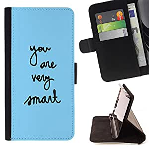 - You are ver smart - - Monedero PU titular de la tarjeta de cr?dito de cuero cubierta de la caja de la bolsa FOR Sony Xperia Z2 D6502 Retro Candy