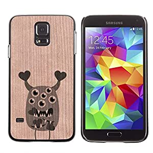 Funda Cubierta Madera de cereza Duro PC Teléfono Estuche / Hard Case for Samsung Galaxy S5 / Phone Case TECELL Store / Corazones lindos del monstruo de San Valentín Cute Valentines Monster Hearts