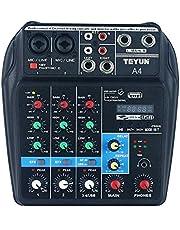 Lilideni Consola de Mezcla de Sonido BT de 4 Canales portátil Mezclador de Audio Digital Efectos de reverberación incorporados para la grabación de la Red de DJ Transmisión en Vivo