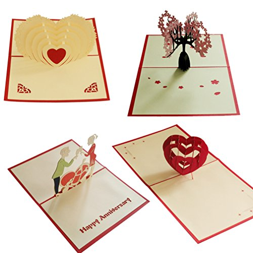 Pack of 4 Cherry Blossoms True Heart Pop Up Card 3D Paper Craft Greeting Cards Cheers My Love Red Heart - Romantics, Girlfriends, Sweetheart, Wife - Birthday, Engagement, Graduation, Anniversary -