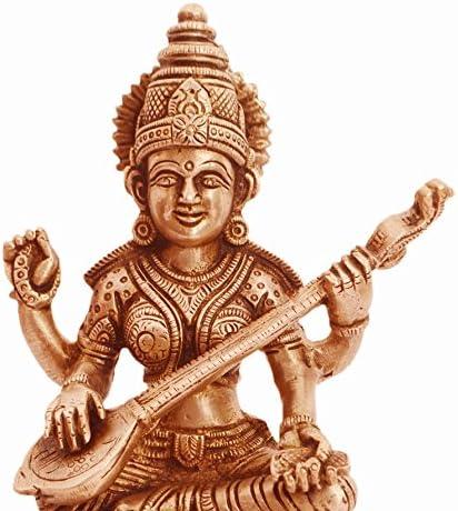 11237 Saraswati Idol Music /& Art; Decor Gift Saraswathi Purpledip Brass Statue Saraswati : Hindu Goddess Of Knowledge