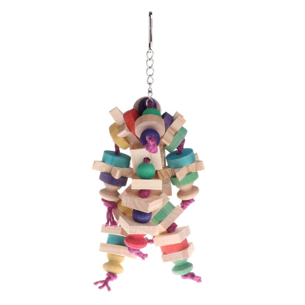 Parrot Toy Chewing Bite Strands Colourful Wooden Hanging Cage Premium Quality by Yevison