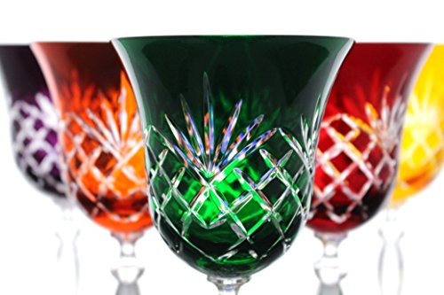 Set of 5 24% Lead Crystal Multi-color Wine Glasses w/Pineapple Cut Hand ()