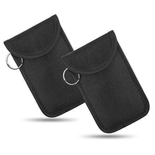 Naviurway Small Keyfob Guard Mini Keyless Remote fob Holder RFID Key Fob NFC Garage Remote Protector Driver License Faraday Bag 05 Black Vertical Pouch