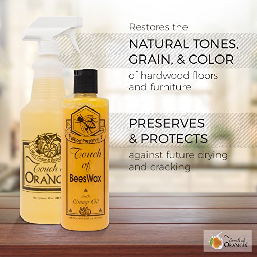 Touch of Beeswax Wood Furniture Polish and Conditioner with Orange Oil. Feeds, Waxes and Preserves Wood Beautifully (16 oz)