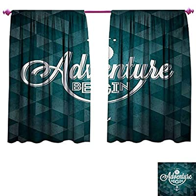 cobeDecor Adventure Customized Curtains Let The Adventure Begin Phrase on Abstract Fractal Triangle Background Patterned Drape for Glass Door Petrol Blue White