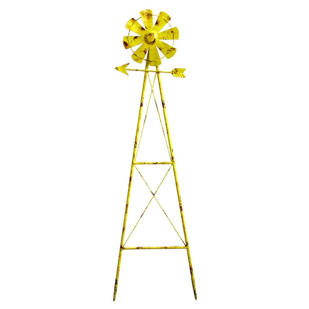 Garden Sculptures Garden Wrought Iron Decoration Courtyard Outdoor Decoration Balcony Landscaping Climbing Vine Flower Stand (Color : Yellow, Size : 11031cm)