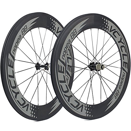 VCYCLE Nopea 700C Carbon Racing Road Bicyle Wheelset 88mm Clincher 23mm Width Shimano or Sram 8/9/10/11 Speed Clincher Set