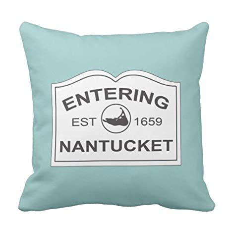 Kinhevao Cojín Negro Inglaterra Nantucket Island EST con Mapa en Aqua Teal Azul Destino Almohada Decorativa Decoración para el hogar Almohada Cuadrada