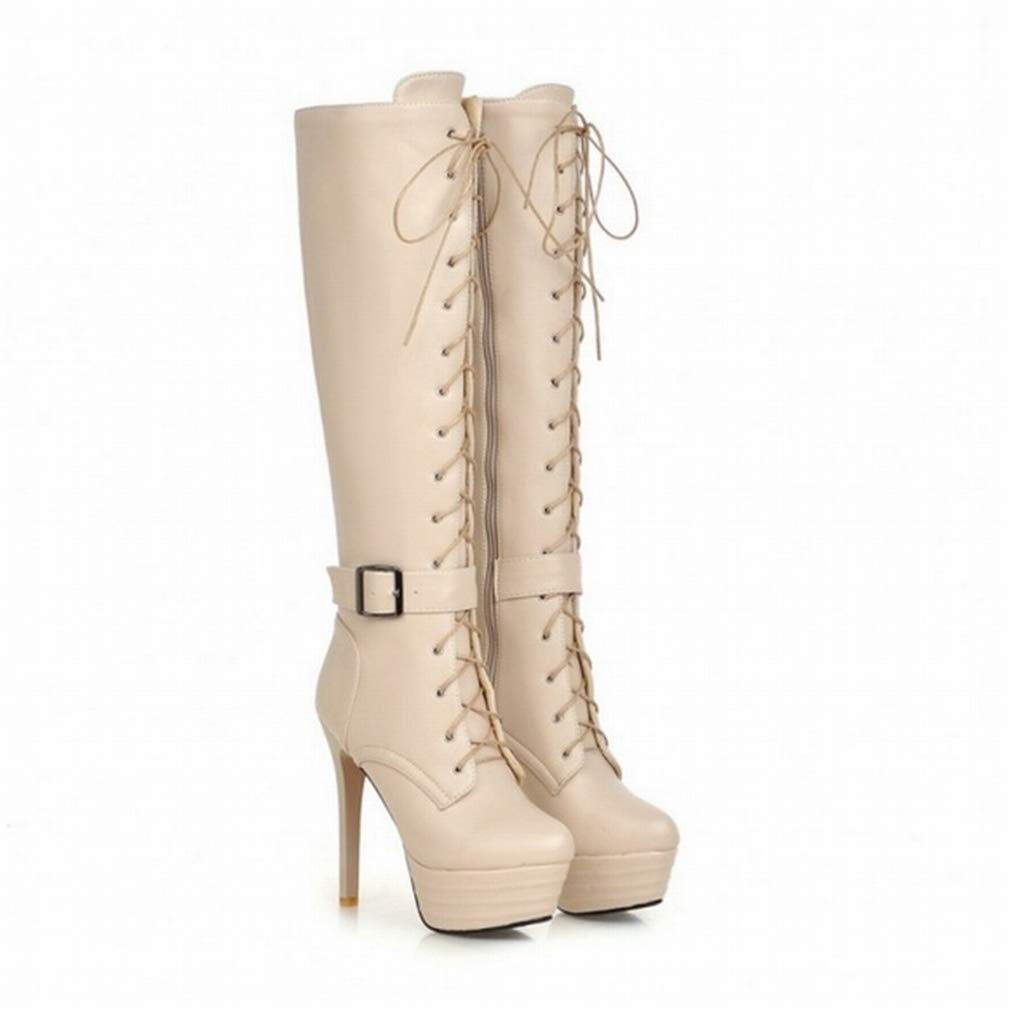 Beige T-JULY Knee High Boots for Women Zipper Motorcycle Boots Super High Heels Buckle Strap shoes Platform Lace Up Winter Boots