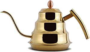 Kettle Stainless Steel Household Handle Long Mouth Burning Teapot Kettle Electric Ceramic Stove Special Simple Flat Bottom Pot (Color : Gold)