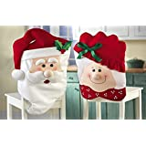 Oplaza Mr & Mrs Santa Claus Christmas Kitchen Chair Covers